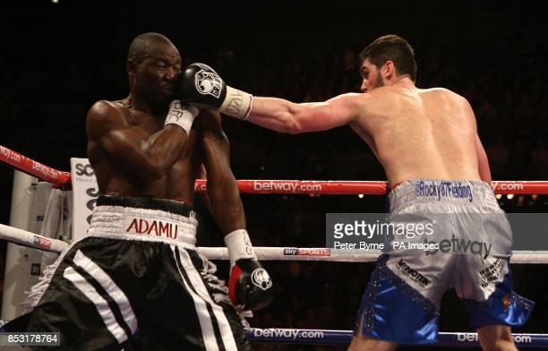 Rocky Fielding in action against Charles Adamu during their Super Middleweight bout at the Echo Arena Liverpool