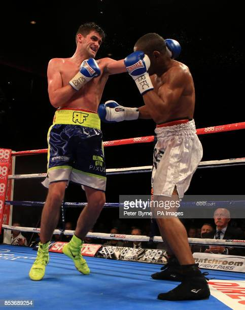 Rocky Fielding in action against Noe Gonzalez Alcoba during their Super Middleweight bout at the Echo Arena Liverpool