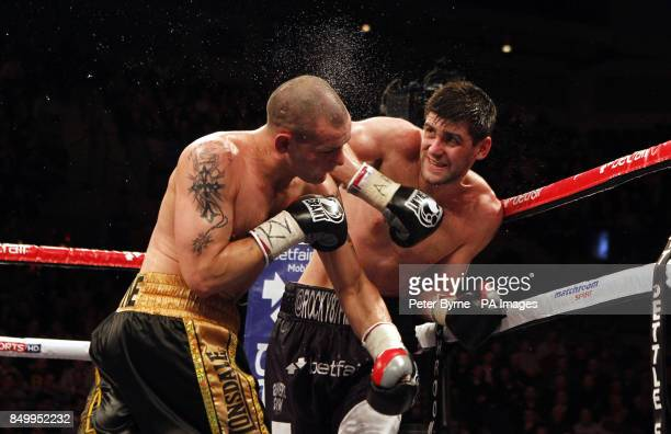 Rocky Fielding in action with Wayne Reed in their English Super Middleweight Title fight at the Echo Arena Liverpool