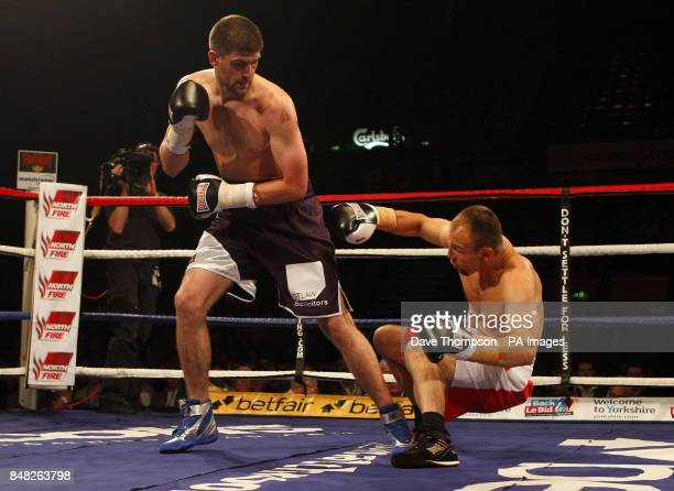 Rocky Fielding knocks down Ferenc Hafner during their SuperMiddleweight contest at the Motorpoint Arena Sheffield