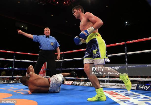 Rocky Fielding reacts after knocking down Noe Gonzalez Alcoba during their Super Middleweight bout at the Echo Arena Liverpool