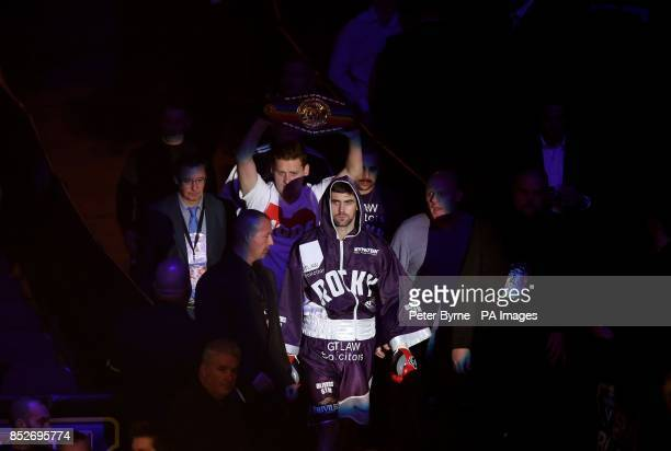 Rocky Fielding walks out for his Commonwealth Super Middleweight Title fight against Luke Blackledge at the Phones 4u Arena Manchester