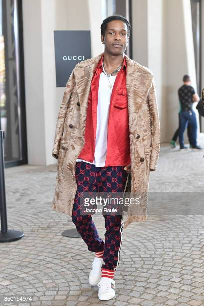 Rocky is seen leaving the Gucci show during Milan Fashion Week Spring/Summer 2018 on September 20 2017 in Milan Italy