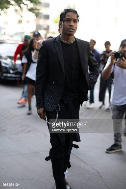 Rocky is seen on the street during Paris Men's Fashion Week S/S 2019 wearing allblack on June 24 2018 in Paris France