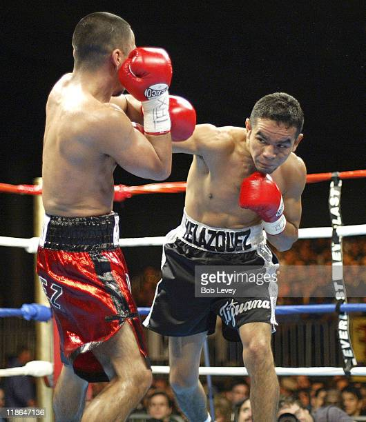 Rocky Juarez in action against Hector Velazquez during the WBC Continental Americas Featherweight Championship between at Reliant Park in Houston...