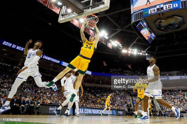 Rocky Kreuser of the North Dakota State Bison dunks the ball against the Duke Blue Devils in the first half during the first round of the 2019 NCAA...