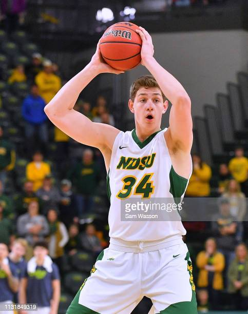 Rocky Kreuser of the North Dakota State Bison looks to pass against the Omaha Mavericks during their game at Scheels Center on February 23 2019 in...