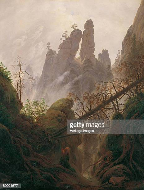 Rocky Landscape in the Elbe Sandstone Mountains 18221823 Found in the collection of Österreichische Galerie Belvedere Vienna Artist Friedrich Caspar...