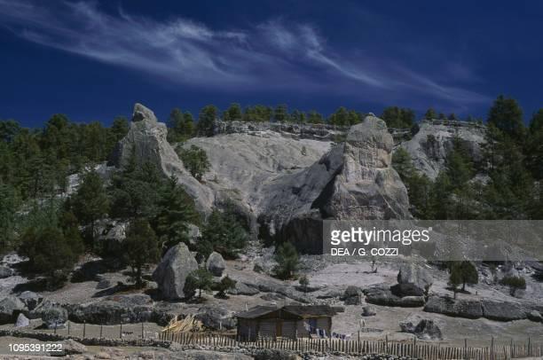 Rocky landscape near Cuzarare in Sierra Tarahumara, State of Chihuahua, Mexico.