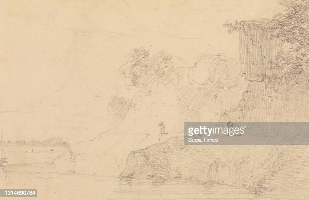 Rocky Landscape, Thomas Daniell, 1749–1840, British, active in India, William Daniell, 1769–1837, British, undated, Graphite on medium, moderately...