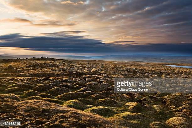 Rocky landscape under stormy sky