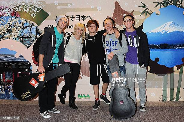 Rocky Lynch Rydel Lynch Ellington Ratliff Ross Lynch and Riker Lynch of the band R5 arrives at Narita International Airport on November 23 2013 in...