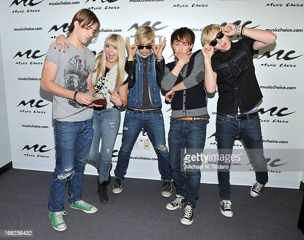 Rocky Lynch Rydel Lynch Ross Lynch Ellington Ratliff and Riker Lynch of R5 visit 'US' at Music Choice on April 10 2013 in New York City