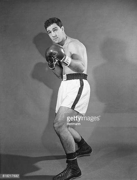 Rocky Marciano in a fighting pose.