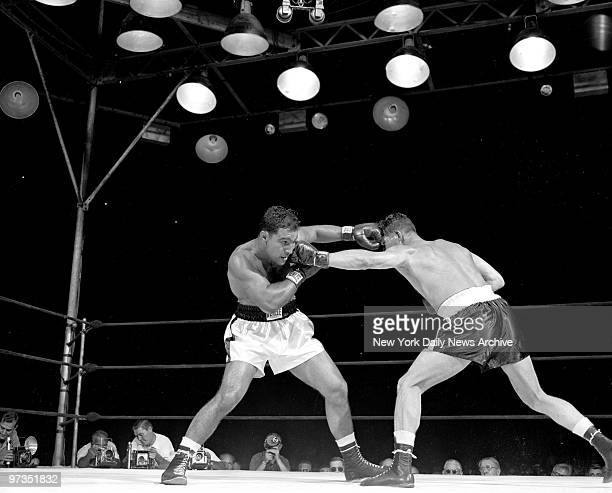 Rocky Marciano trades lefts with Harry Matthews at Yankee Stadium