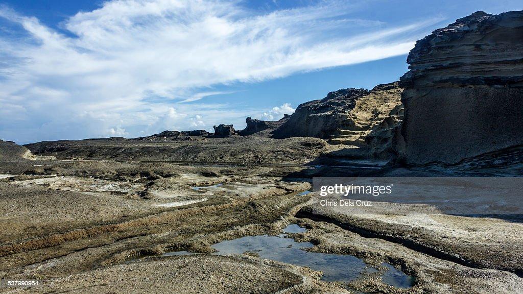 Rocky moon like landscape in Biri Island : Stock Photo