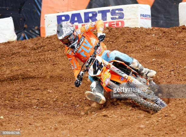 Rocky Mountain ATV/MCKTMWPS 450cc rider Blake Baggett rails a turn in practice of the Monster Energy AMA Supercross race on March 03 2018 at the...
