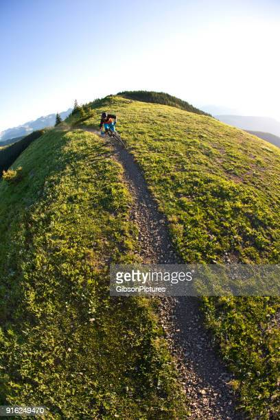 rocky mountain bike ride - wide angle stock pictures, royalty-free photos & images