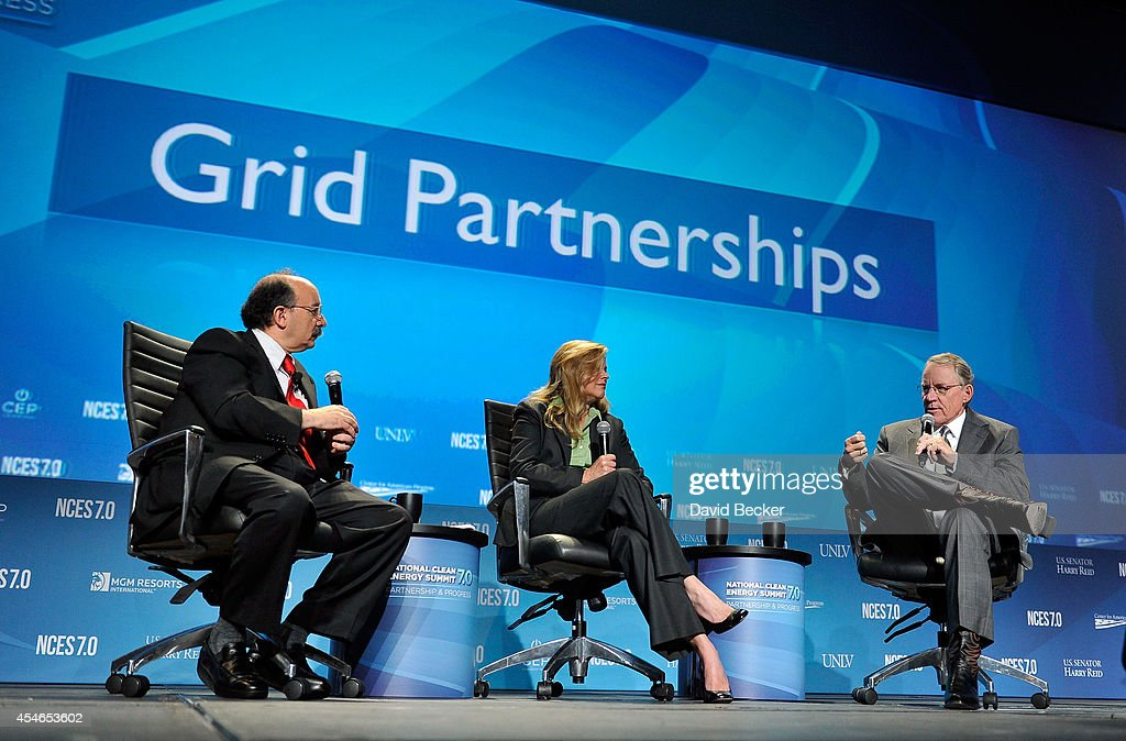 Rocky Mountain Institute Co-Founder Amory Lovins, Sempra U.S. Gas & Power President and CEO Patricia Wagner and NV Energy President and CEO Paul Caudill attend the National Clean Energy Summit 7.0 at the Mandalay Bay Convention Center on September 4, 2014 in Las Vegas, Nevada.