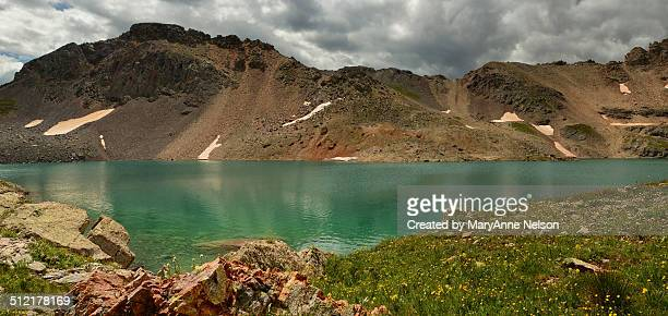 rocky mountain lake - mary lake stock photos and pictures