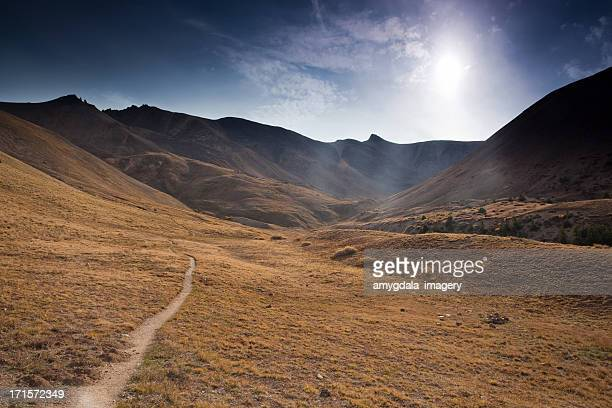 rocky mountain landscape hiking trail - san juan mountains stock photos and pictures