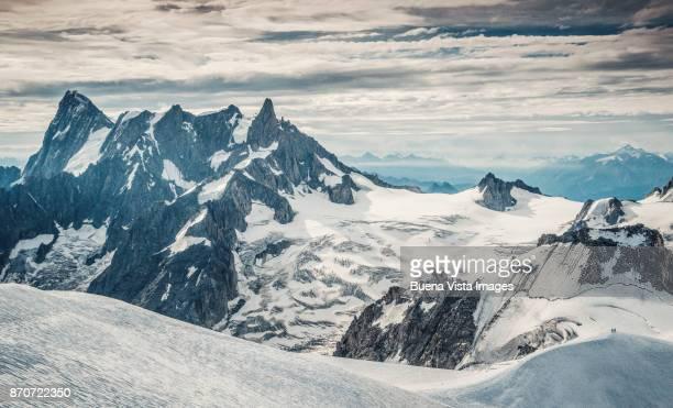 Rocky mountains over glacier
