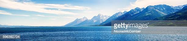 Rocky Mountains Teton range panorama with lake