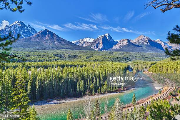 Rocky Mountains with Bow River in Foreground