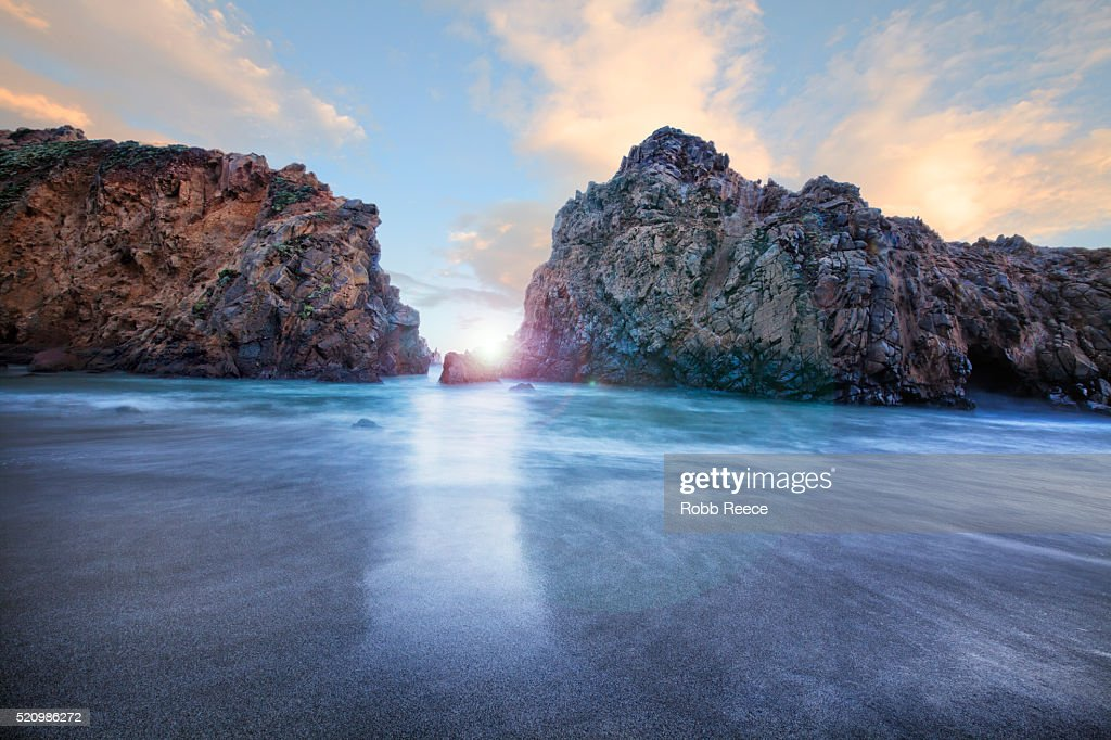 Rocky, ocean landscape at sunset at Big Sur, California : Stock Photo