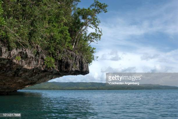 rocky outcrop island in the sea, tropical fantasy, leyte gulf, philippines - argenberg stock-fotos und bilder