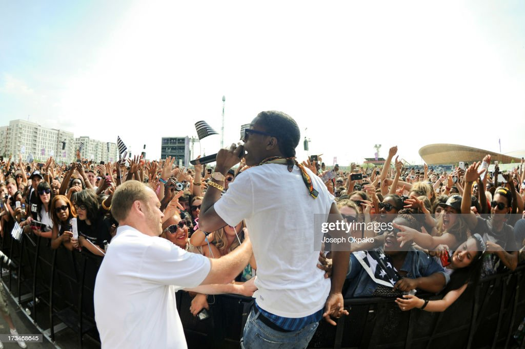Rocky performs on day 3 of the Yahoo! Wireless Festival at Queen Elizabeth Olympic Park on July 14, 2013 in London, England.