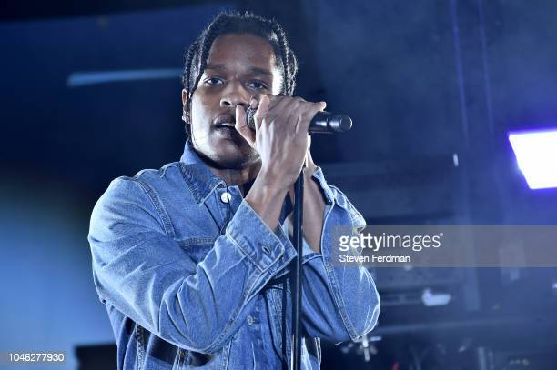 Rocky performs onstage during a surprise performance for Calvin Klein Jeans X Amazon Fashion Launch NYC Market at Flatiron Plaza on October 5 2018 in...