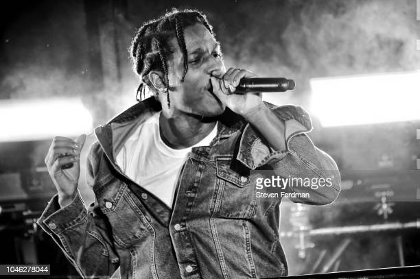 A$AP Rocky performs onstage during a surprise performance for Calvin Klein Jeans X Amazon Fashion Launch NYC Market at Flatiron Plaza on October 5...