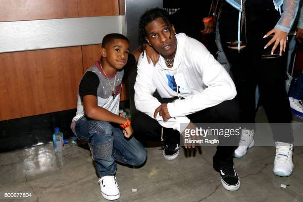 Rocky poses with a fan backstage at night three of the STAPLES Center Concert sponsored by Sprite during the 2017 BET Experience at Staples Center on...