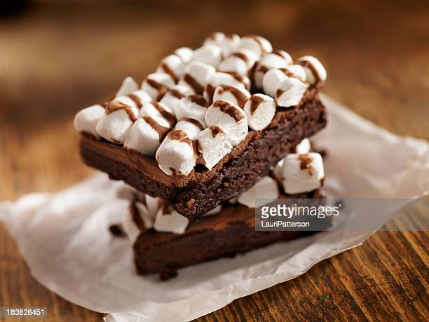 rocky road brownies - wax paper stock photos and pictures
