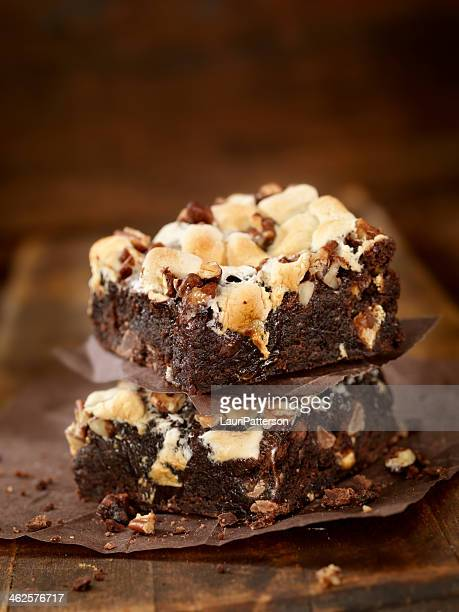 rocky road brownies - brownie stock pictures, royalty-free photos & images