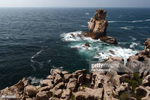 Rocky shore and rock in the sea, seascape