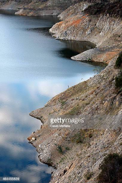 Rocky shores are exposed by the low waters of Morris Reservoir on the San Gabriel River in the Angeles National Forest on January 22, 2014 in near...