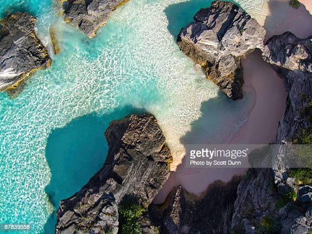 rocky shores near bermuda's horseshoe bay - southampton parish stock photos and pictures