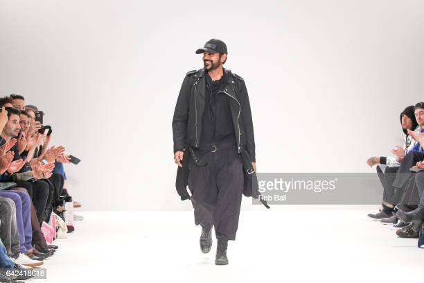 Rocky Star apperas at the end of his show at Fashion Scout during the London Fashion Week February 2017 collections on February 17 2017 in London...