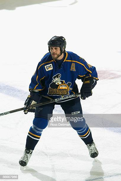 Rocky Thompson of the Peoria Rivermen skates against the Chicago Wolves at Allstate Arena on December 11 2005 in Rosemont Illinois The Wolves won 41