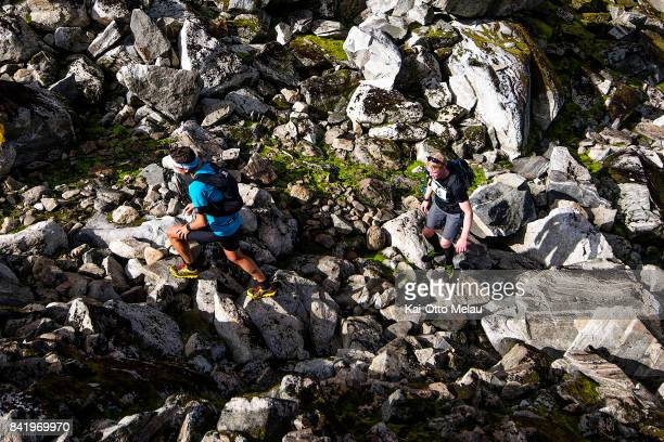 Rocky trails at Hardangervidda Marathon on September 2 2017 in Eidfjord Norway Hardangervidda Marathon goes through parts of the National Park of...