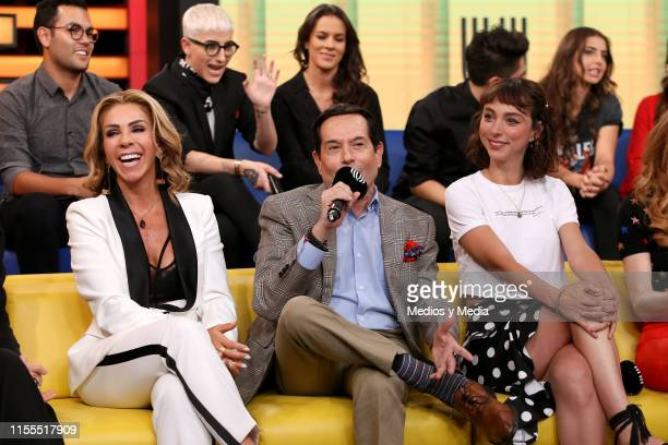 Rocío Sánchez Azuara Juan Jose Origel and Natalia Téllez smile during a Unicable press conference at XEW to announce new productions on June 12 2019...