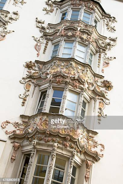 Rococo Baroque style Tyrolean architecture of Holblinghaus in Herzog Friedrich Strasse in Innsbruck the Tyrol Austria