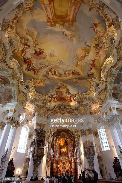 Rococo interior of Pilgrimage Church of Wies (Wieskirche).
