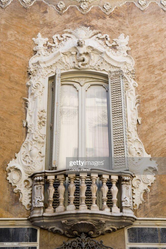 Museo Nacional De Ceramica.Rococo Stucco Work Around Window Of Museo Nacional De Ceramica