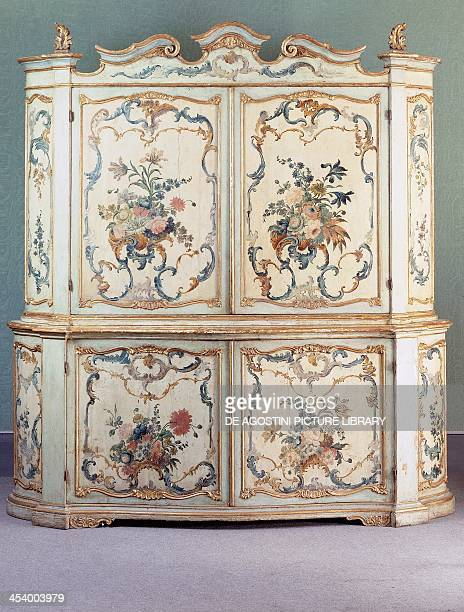 Rococo style lacquered and painted Genoese two tier piece of furniture ca 1750 Italy 18th century