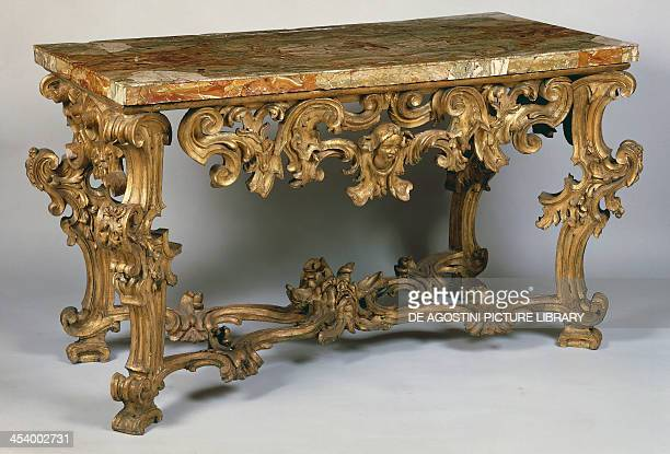 Rococo style Roman console table inlaid and gilded with marble top ca 1720 Italy 18th century