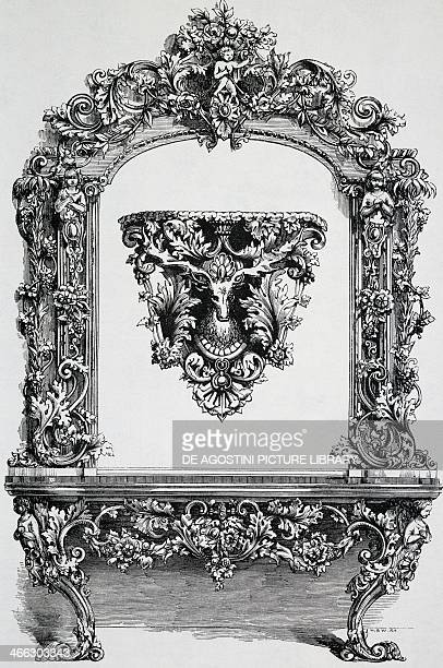 Rococo style shelf console in guttapercha presented at the Universal Exhibition of 1851 19th cenutry