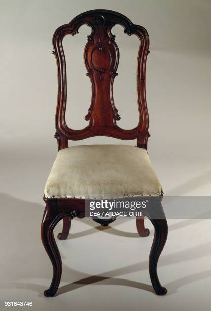 Rococostyle carved chair with upholstered seat Portugal 18th century